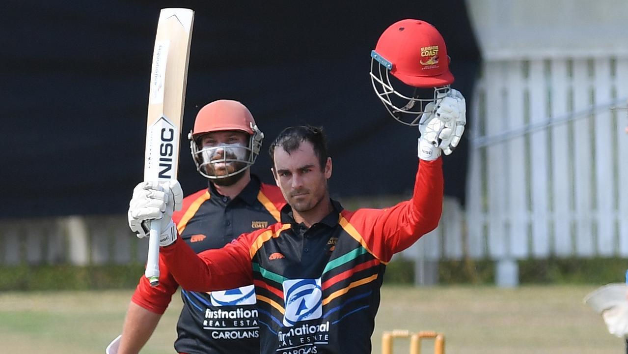 Sunshine Coast batsman Alecz Day celebrates scoring a century against Ipswich/Logan Hornets at Baxter Oval in Ipswich on Saturday. Photo: Rob Williams