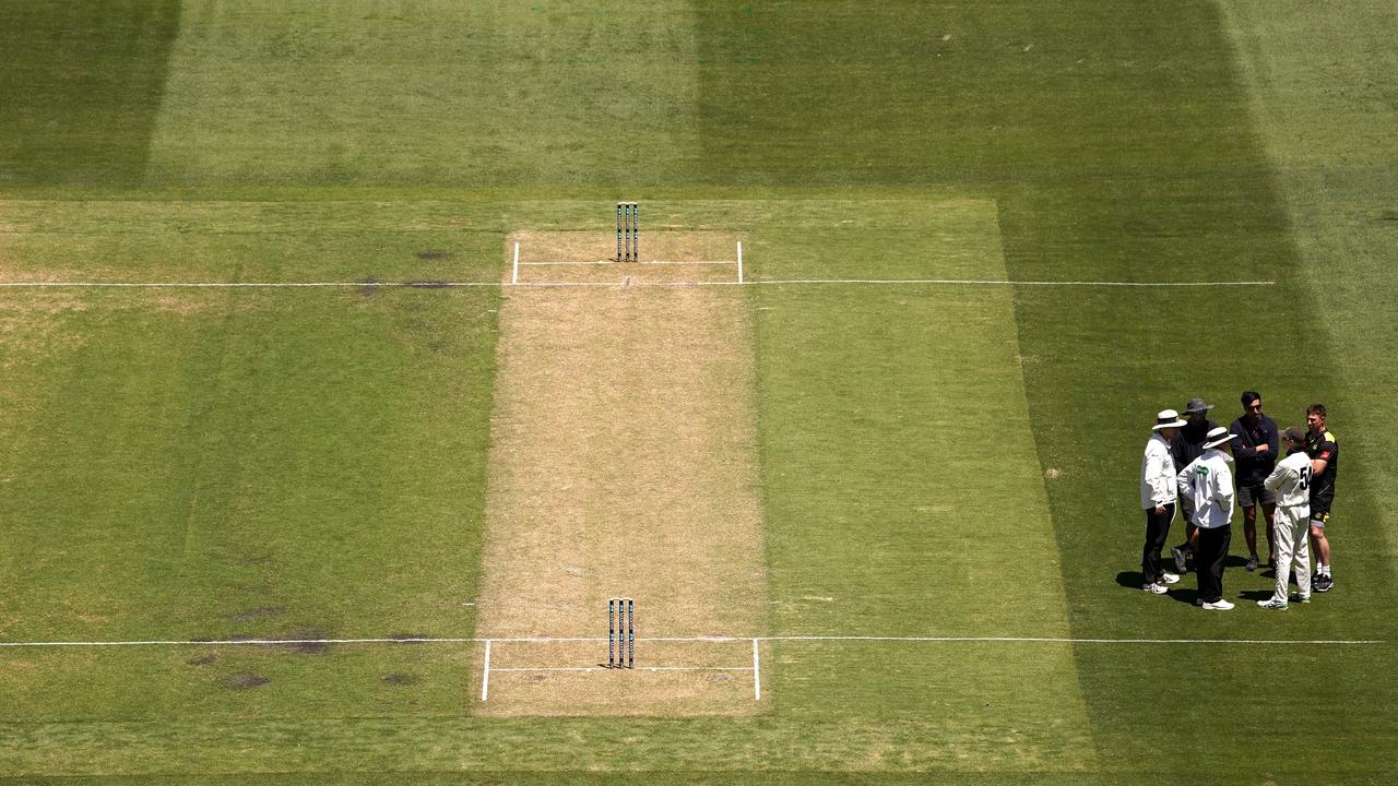 The pitch that forced a Sheffield Shield match to be abandoned. Picture: (AAP Image/Sean Garnsworthy