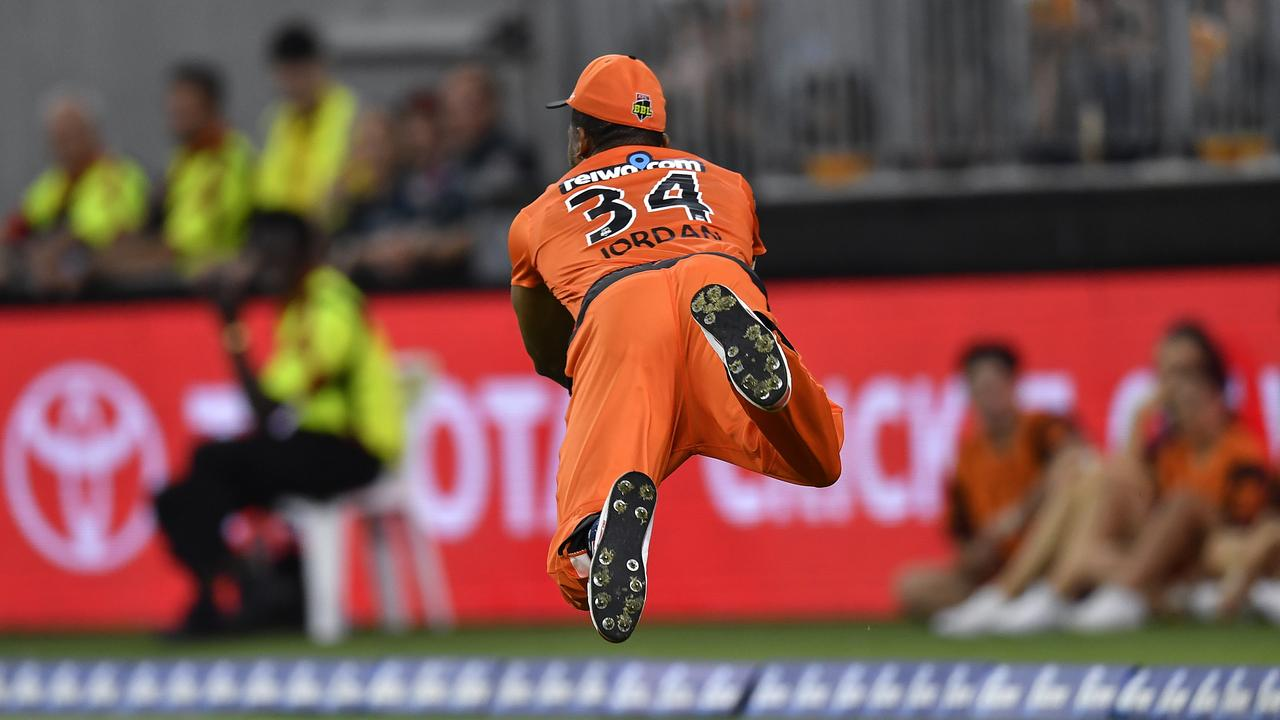 Chris Jordan took the catch of the summer against the Melbourne Renegades. Picture: Getty Images