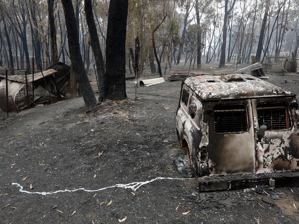 A burnt out vehicle in Dargan. Picture: Jeremy Piper