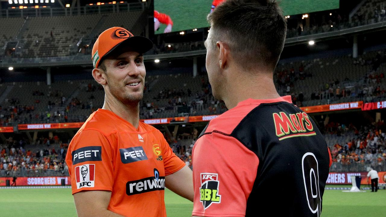 Mitchell Marsh and Shaun Marsh embrace after the match. Picture: AAP Images