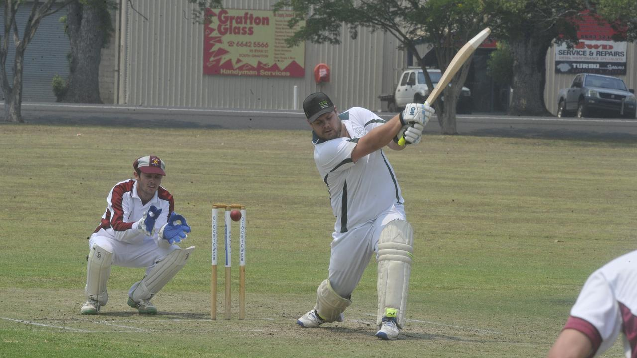 Andy Kinnane's ball goes inches away from hitting the stumps against WE batsman John Martin during the GDSC Premier League CRCA cricket match between Brothers and Westlawn East at JJ Lawrence Fields on Saturday, December 21, 2019.