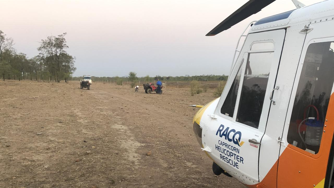 Capricorn Helicopter Rescue Service lands at the scene of a quad bike accident west of Rockhampton with a Critical Care Paramedic and doctor to attend to the woman's injuries.