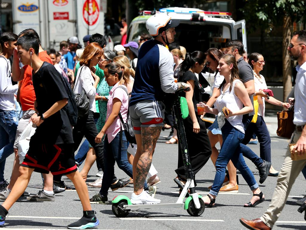 Queensland is the only state that allows e-scooter users to travel faster than 10km/h. Picture: AAP/David Clark