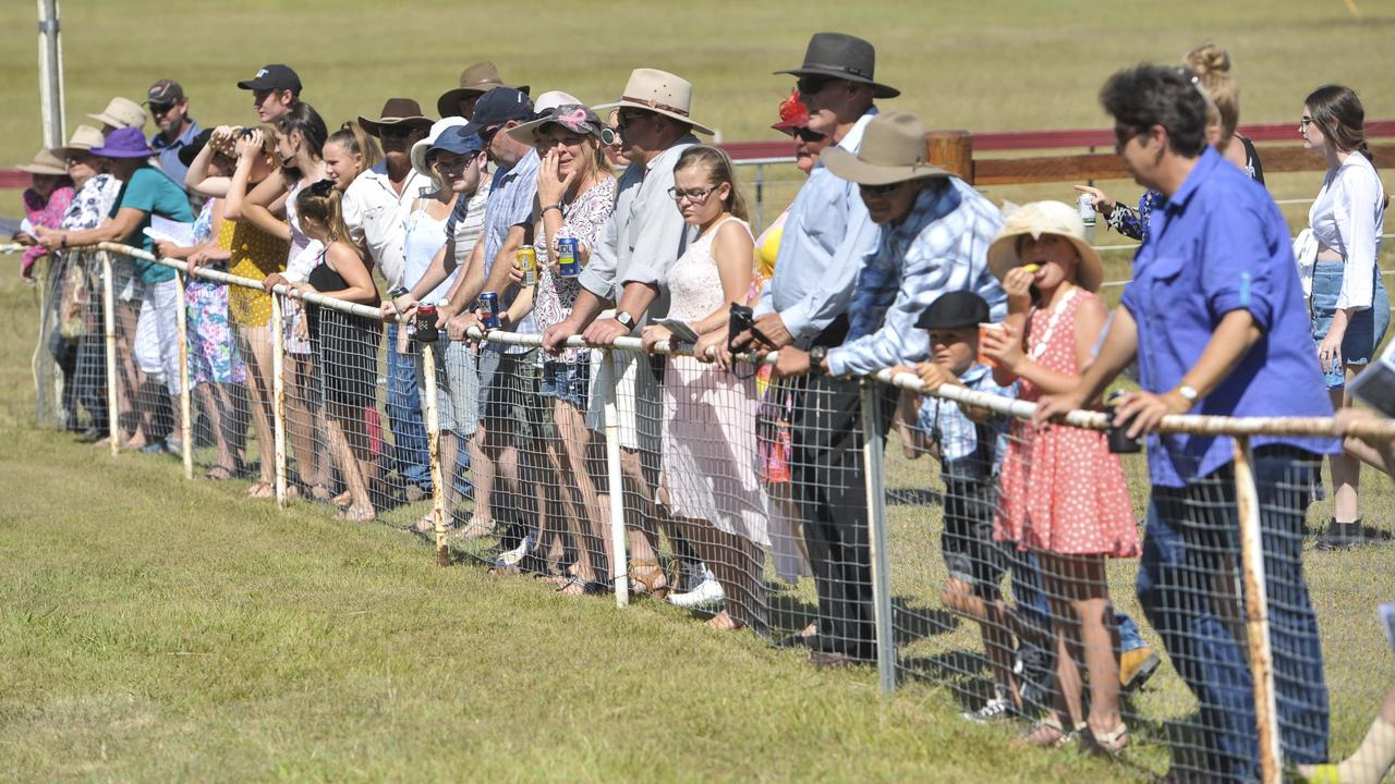 The crowd watches on at the Calliope Races on Boxing Day back in 2017.