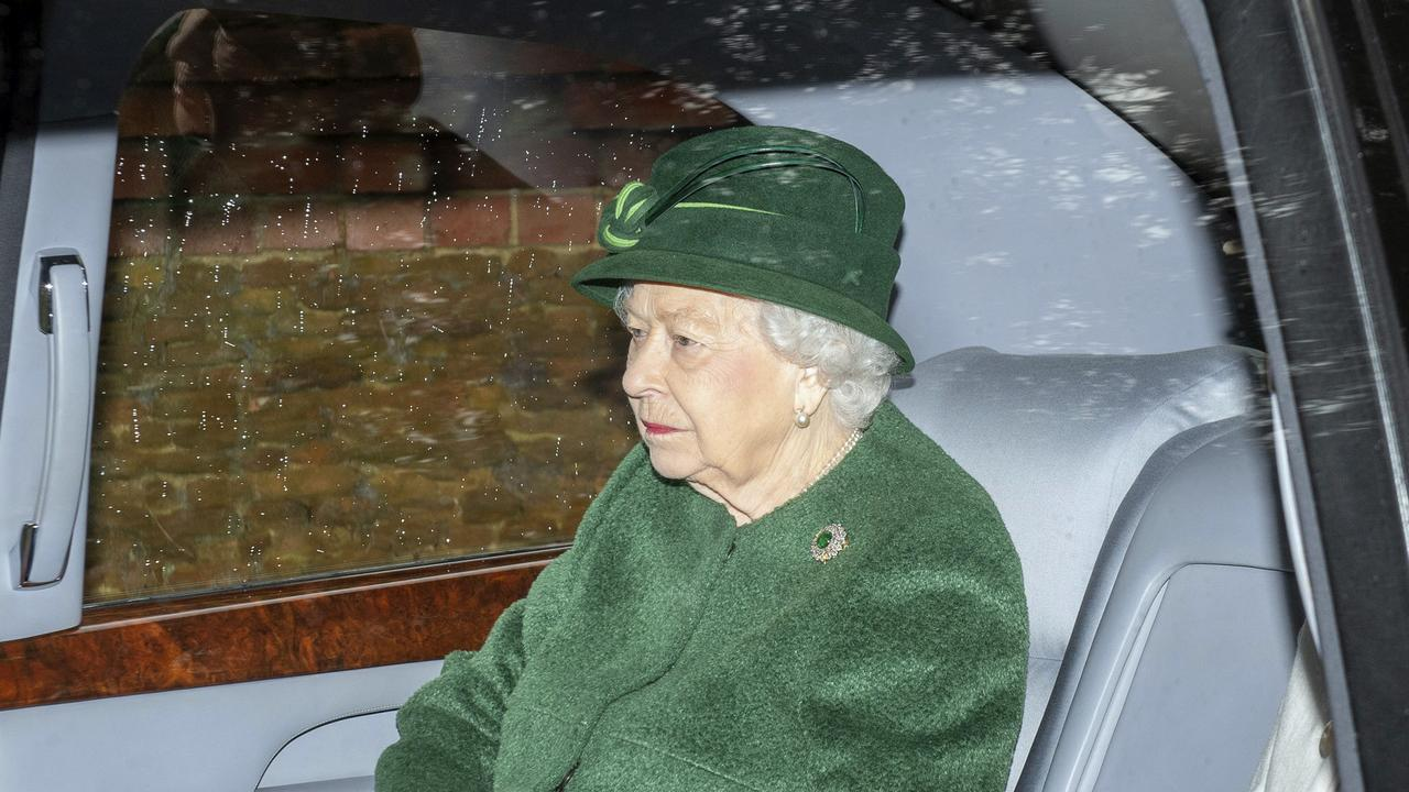 The Queen leaves a church service in Sandringham. Her husband was too ill to attend. Picture: PA via AP