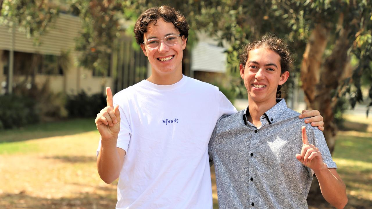 GREAT RESULT: Kawana Waters State College Year 12 graduates Cameron Bray and Jaiden Hodson were the last two students from the school to receive an OP1 score. Photo: Lacee Froeschl