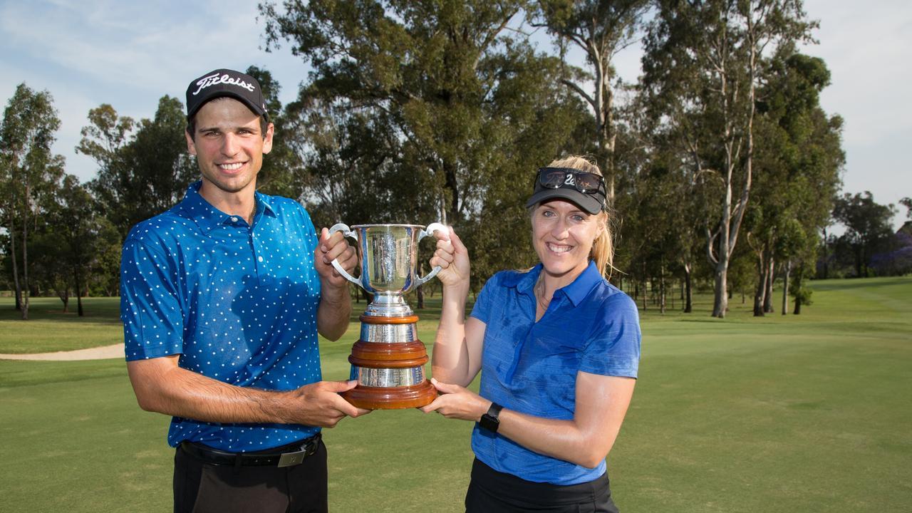 Jordan Zunic celebrates his 2018 Queensland Open win at Brisbane Golf Club with caddie-fiancee Olivia Marlow Photo: David Kapernick, Golf Queensland