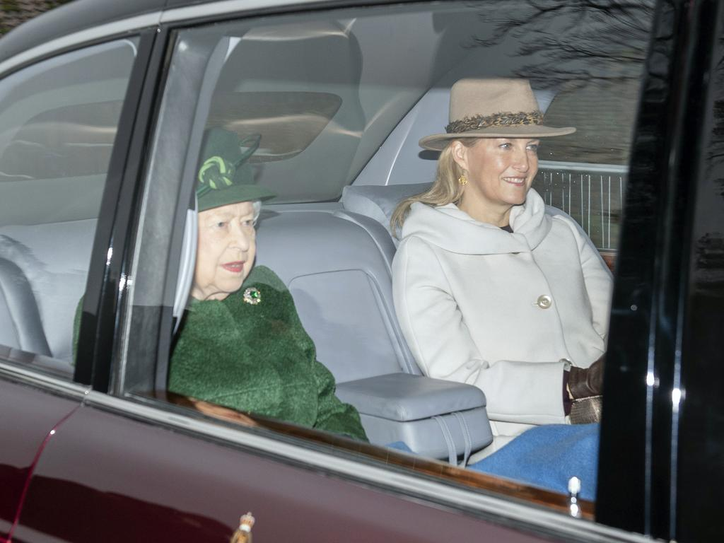 The Queen travelled to the service with Sophie, Countess of Wessex, who is married to Prince Edward. Picture: PA via AP