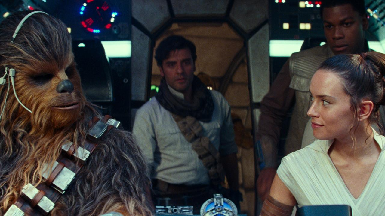 Joonas Suotamo as Chewbacca, Oscar Isaac as Poe Dameron, Daisy Ridley as Rey and John Boyega as Finn in a scene from Star Wars: The Rise of Skywalker.