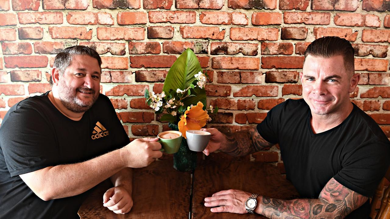 Matthew Phillips (right) is organising a Christmas Eve dinner for the homeless. Matthew is pictured with Milk and Beans Cafe owner Michael Foster (left) who offering assistance.