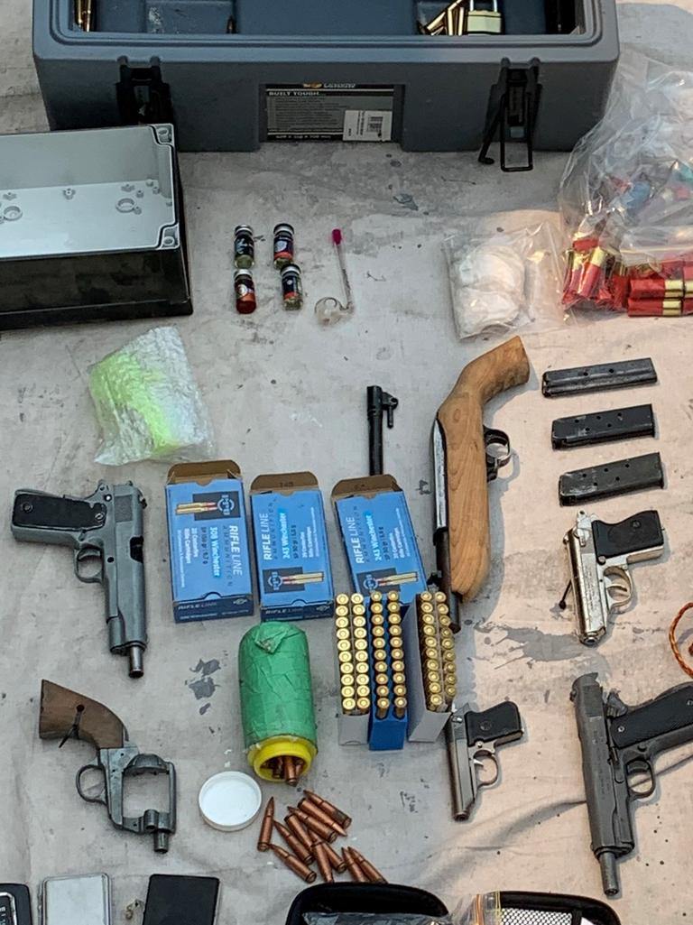 Items seized during a raid by Taskforce Maxima as part of an investigation into an alleged attempted murder.