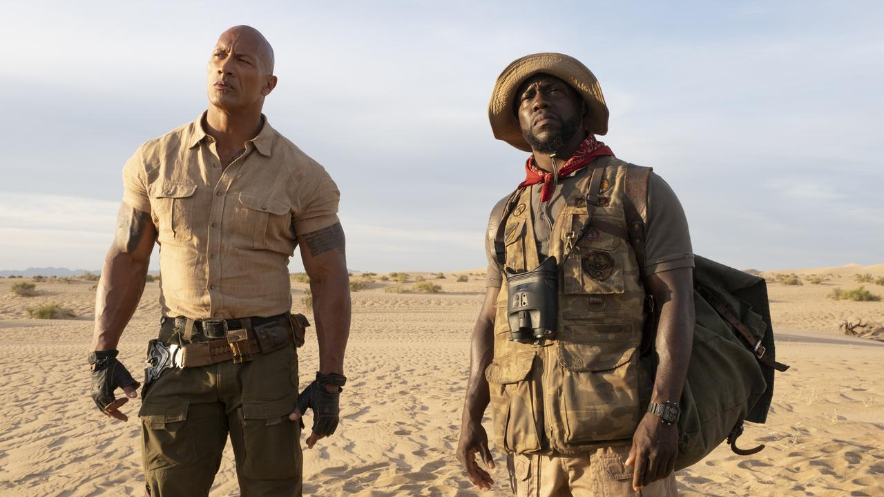 Dwayne Johnson and Kevin Hart in a scene from Jumanji: The Next Level. Supplied by Sony Pictures.