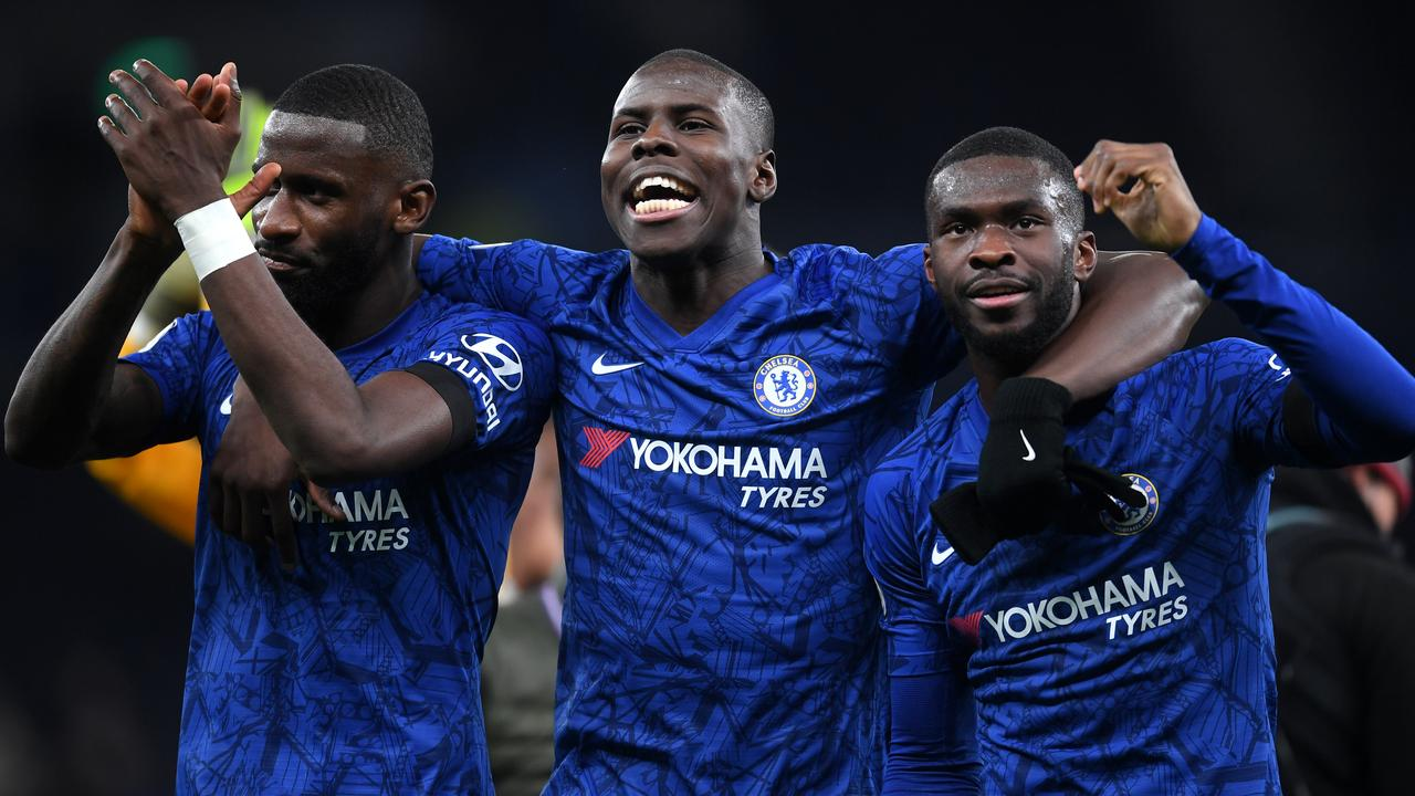 Antonio Rudiger, Kurt Zouma and Fikayo Tomori celebrate during Chelsea's win over Tottenham. Picture: Getty Images