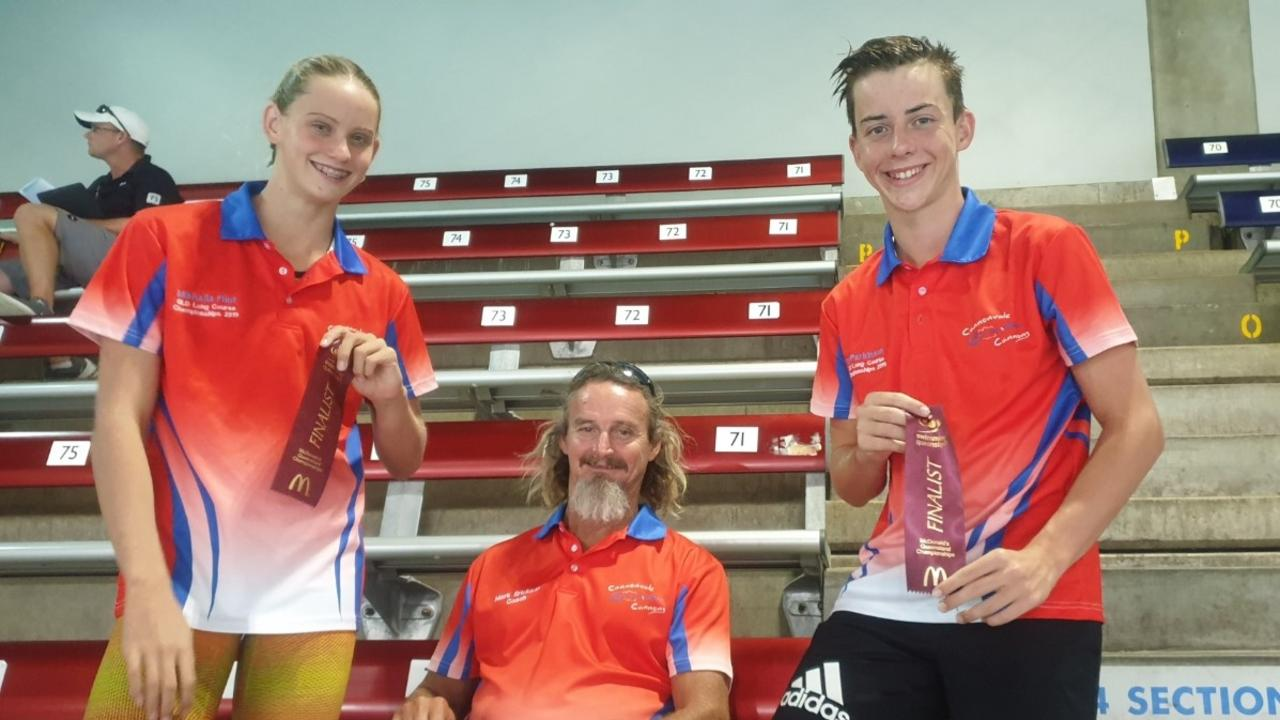 Mikhalia Flint, coach Mark Erikson and Jy Parkinson at the 2019 McDonald's Queensland Championships in Brisbane.