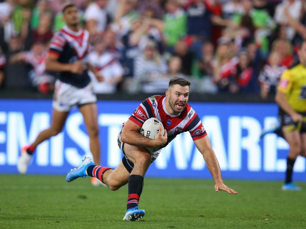 YEAR TO REMEMBER: James Tedesco scores the winning try in the NRL grand final. Tedesco had a year foof the Roosters scores a try during the 2019 NRL Grand Final match between the Canberra Raiders and the Sydney Roosters at ANZ Stadium on October 06, 2019 in Sydney, Australia. (Photo by Jason McCawley/Getty Images)