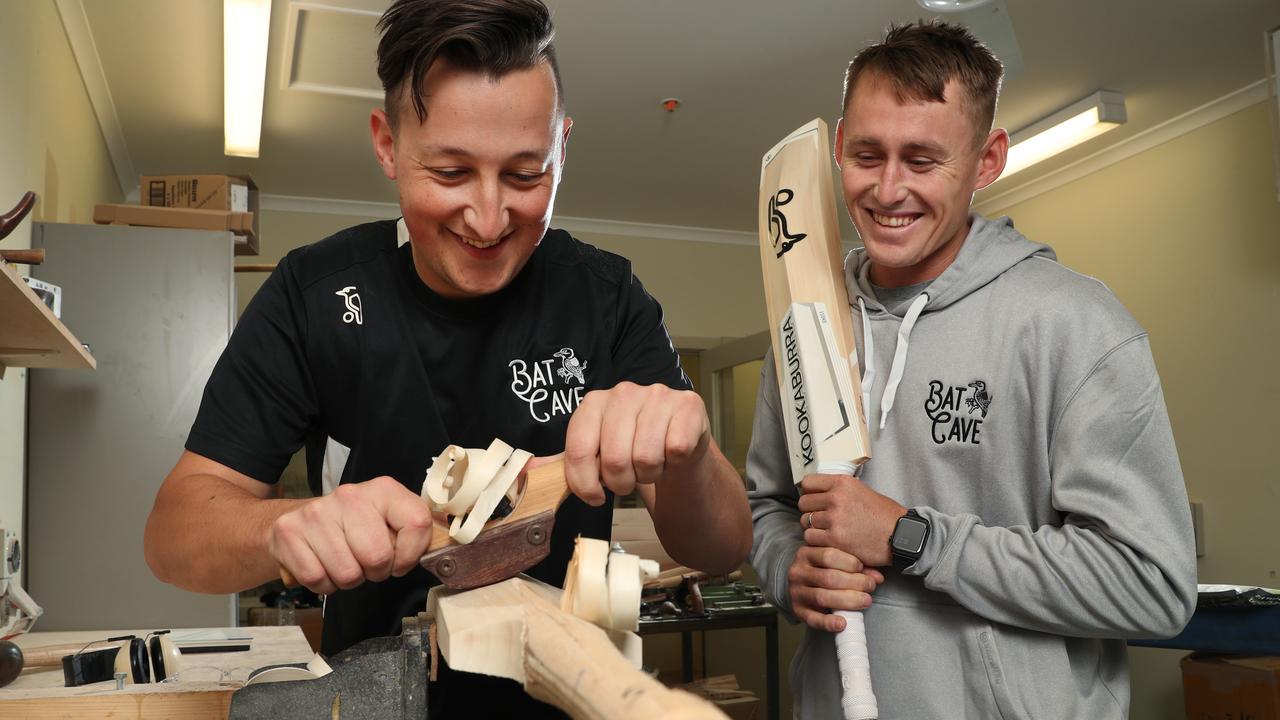 Marnus Labuschange with bat-maker Lachlan Dinger. Picture: David Crosling