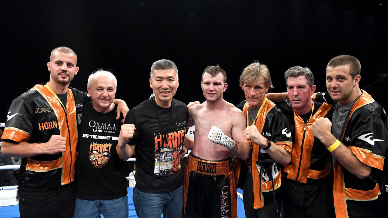 Jeff Horn's team left to right: Adam Copland, Phil Murphy, Dundee Kim, Jeff Horn, Glenn Rushton, Stephen Edwards, Ben Horn. Picture: Bradley Kanaris/Getty