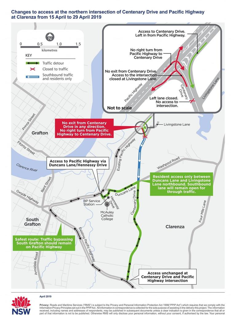 Trialled changes to Centenary Drive and Pacific Highway intersection