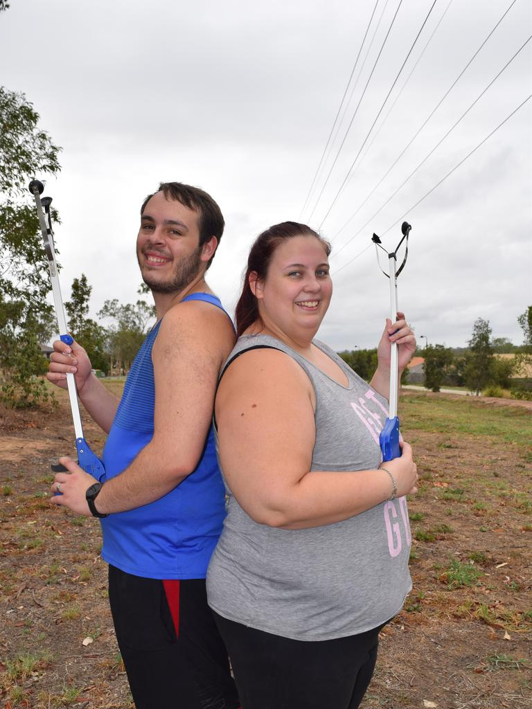 Stephanie Dalgity and Nathaniel Kershaw are doing their bit to clean up Brassall which is a haven for rubbish.