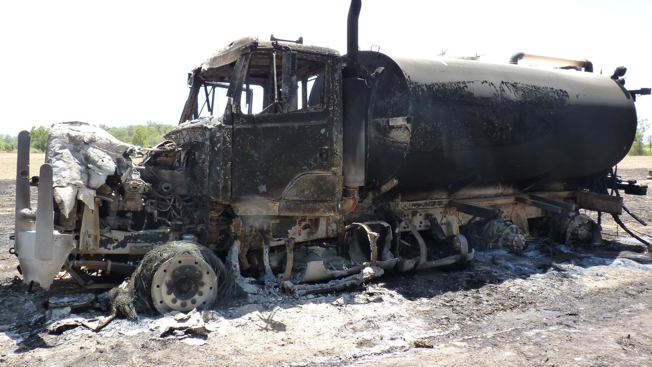 BURNT WRECK: The dunder tanker came in contact with the high-voltage power line when it raised a boom Les Durnsford said.