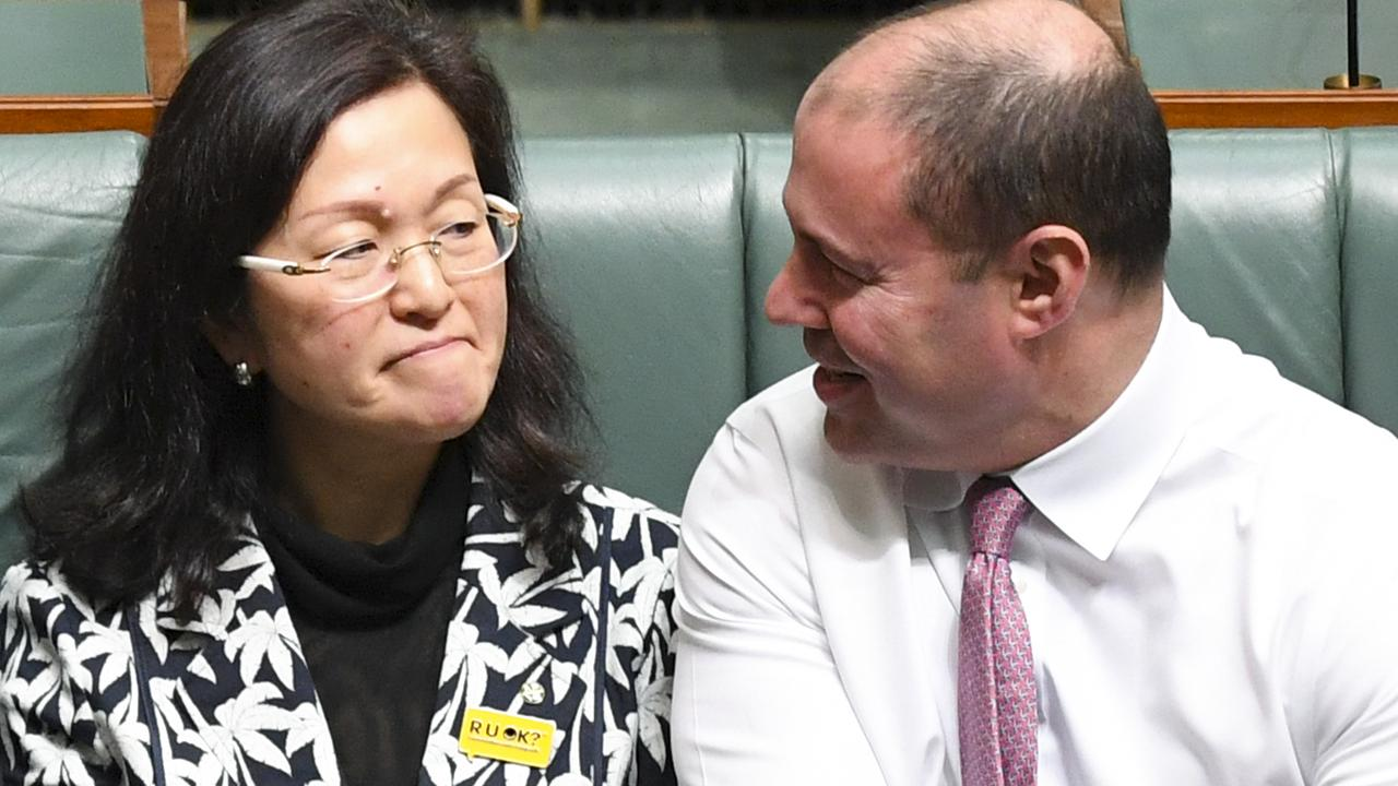 Liberal Member for Chisholm Gladys Liu and federal Treasurer Josh Frydenberg. Picture: AAP