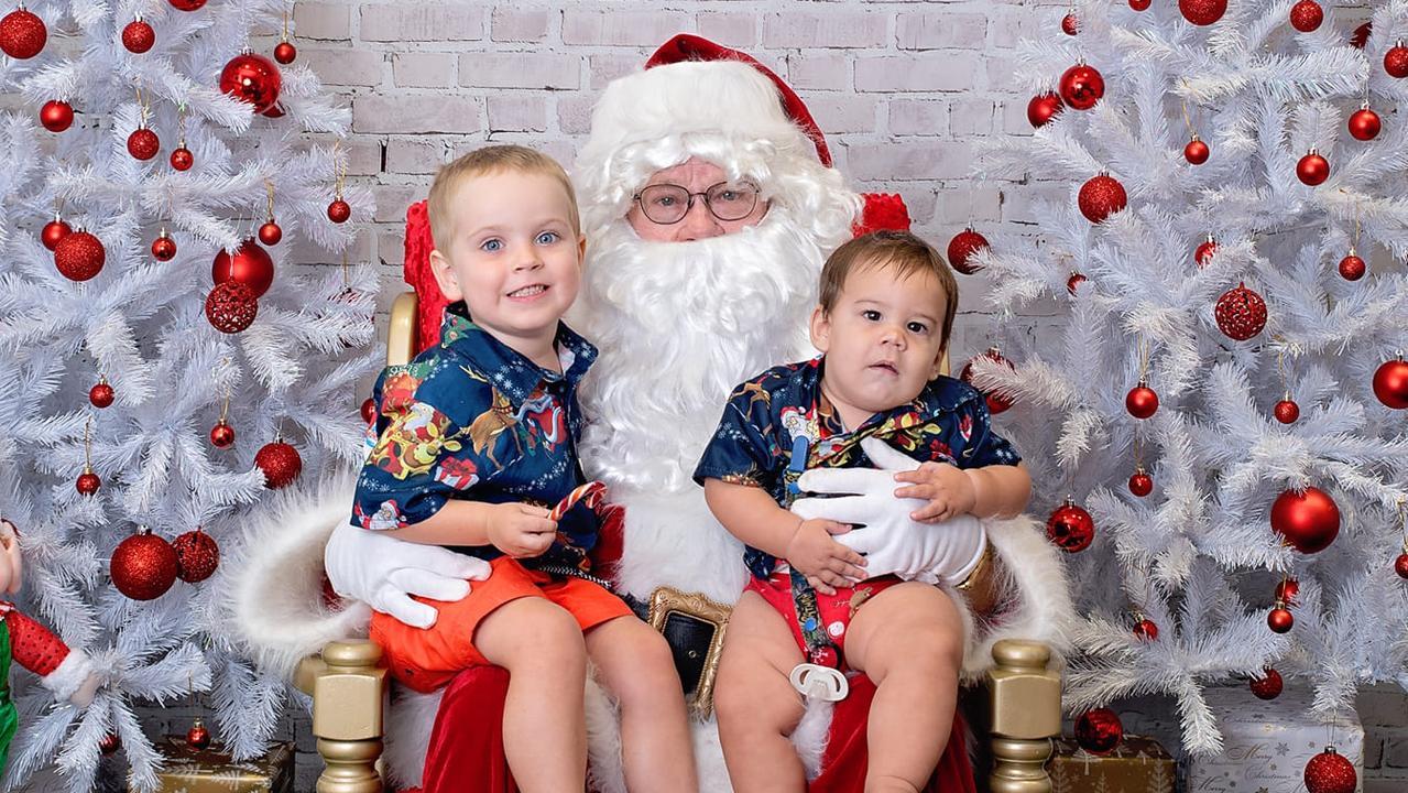 Jaxon and Alex Louis-Kircher with Santa. Photo: Samantha Walton