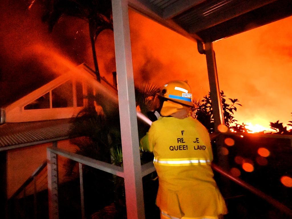 A monstrous and devastating fire ripped through Peregian Springs, Peregian Breeze and Peregian Beach in September. Photo: John McCutcheon / Sunshine Coast Daily