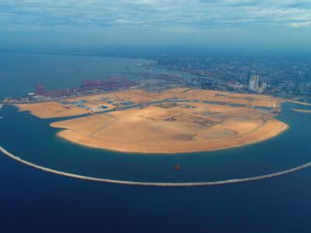 China's artificial island-building skills are being used as part of its 'Belt and Road' infrastructure project to establish a new port in Sri Lanka. Picture: CHEC Port City Colombo