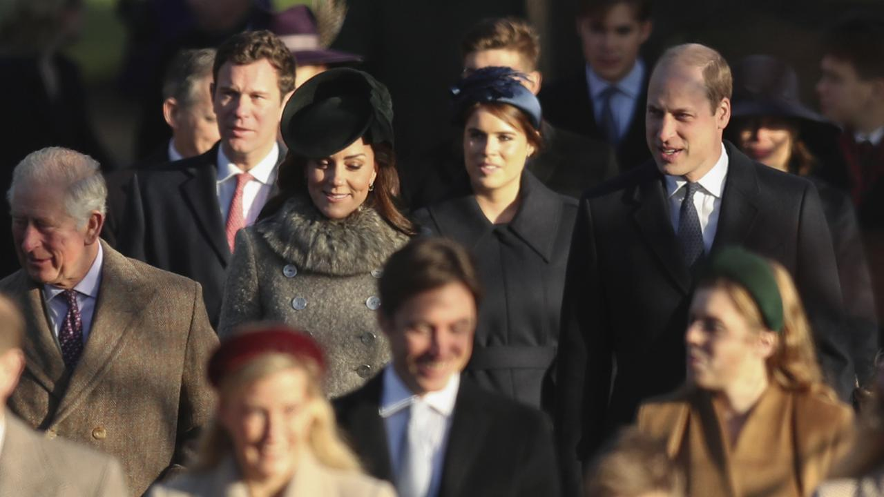 Britain's Prince Charles, second left, arrives with Britain's Princess Eugenie and her husband Jack Brooksbank, Britain's Prince William and Catherine, Duchess of Cambridge, centre row. Picture: AP/Jon Super