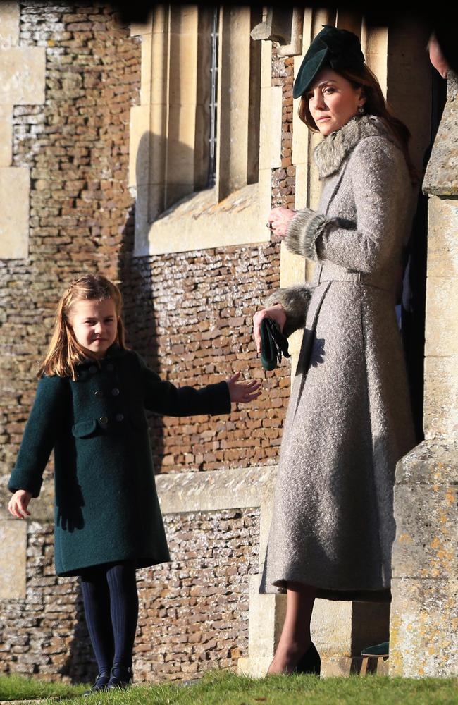 Catherine, Duchess of Cambridge and Princess Charlotte leave after attending the Christmas Day Church service at Church of St Mary Magdalene. Picture: Stephen Pond/Getty Images