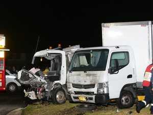 Truckie crash rips through family home