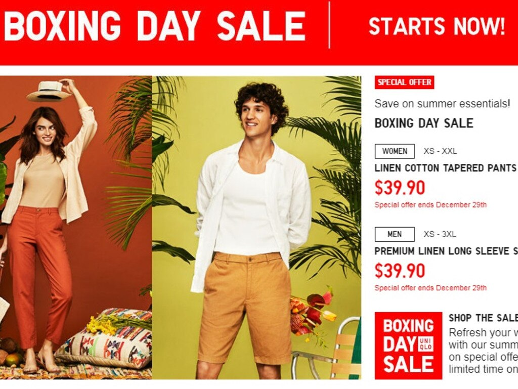 Boxing Day sales have started at UniQlo Australia.