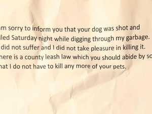 Neighbour's missing dog note 'sickens'