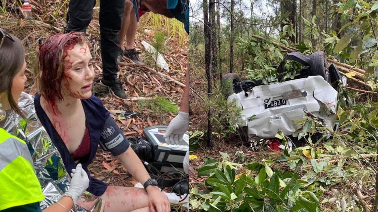 Ebony Rich, 18, spent Christmas Day in hospital after she was run off the road by an alleged stolen car at Elimbah yesterday, causing her car to flip and crash into a ditch. Photos: Contributed