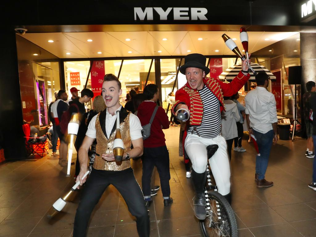 Entertainers in front of the Myer store in the Bourke St Mall. Picture: David Crosling