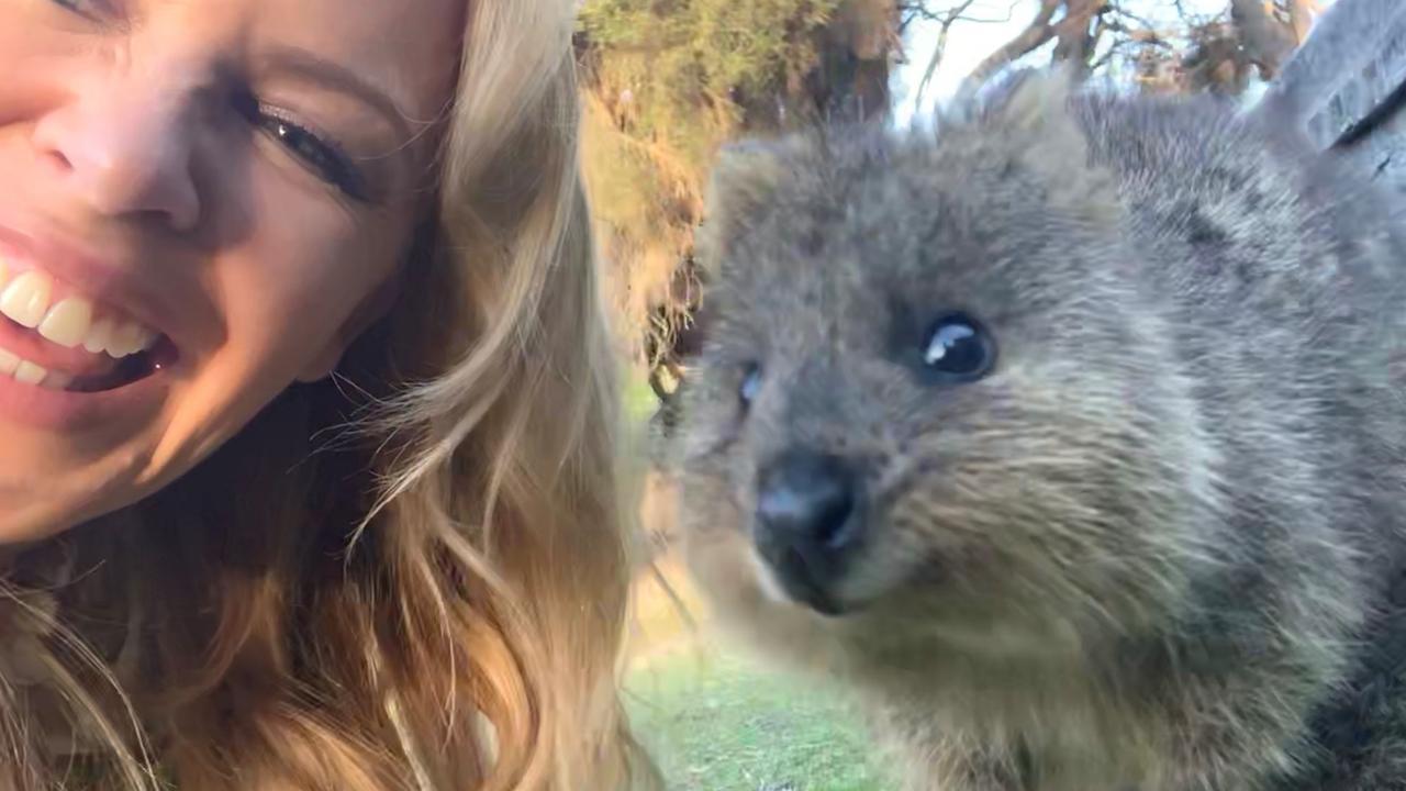 Kylie's selfie with a quokka on Rottnest Island, Western Australia Pic: Tourism Australia
