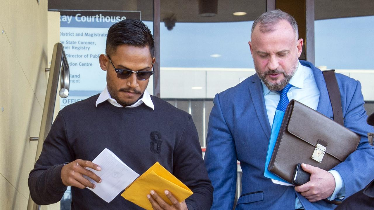 Ben Barba and his Lawyer Campbell MacCallum leave Mackay Courthouse. Photo: Daryl Wright.