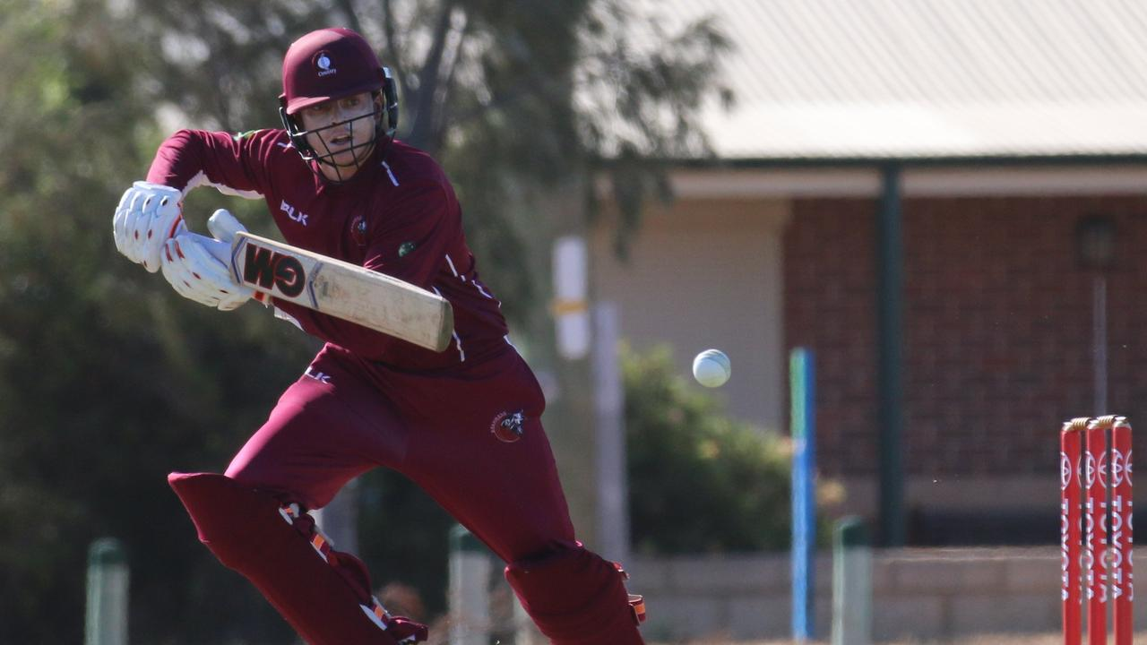 Sam Lowry at the crease for Queensland Country against Victoria Country at the Australian Country Cricket Championships in Geraldton, WA.