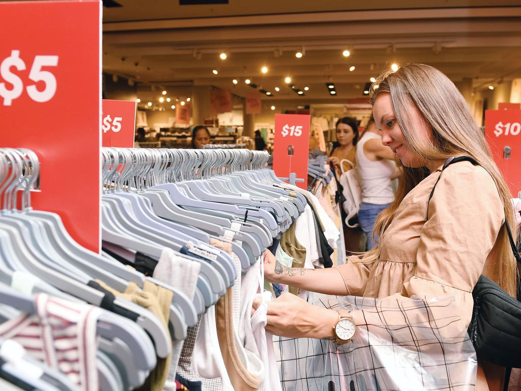 Shelby-Leigh Tate looks for a bargain in Cotton On. Picture: Tony Martin