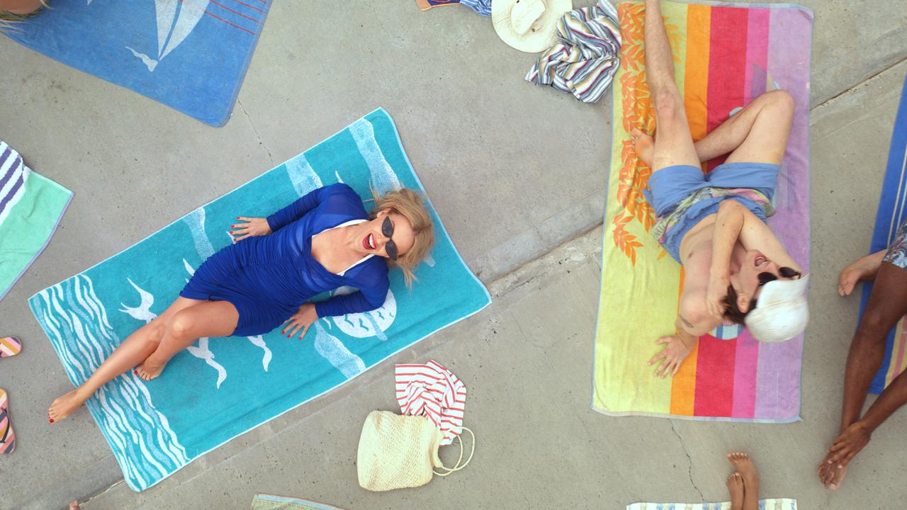 Kylie Minogue recreates her Slow video at Wylie's Baths Coogee. Pic: Tourism Australia