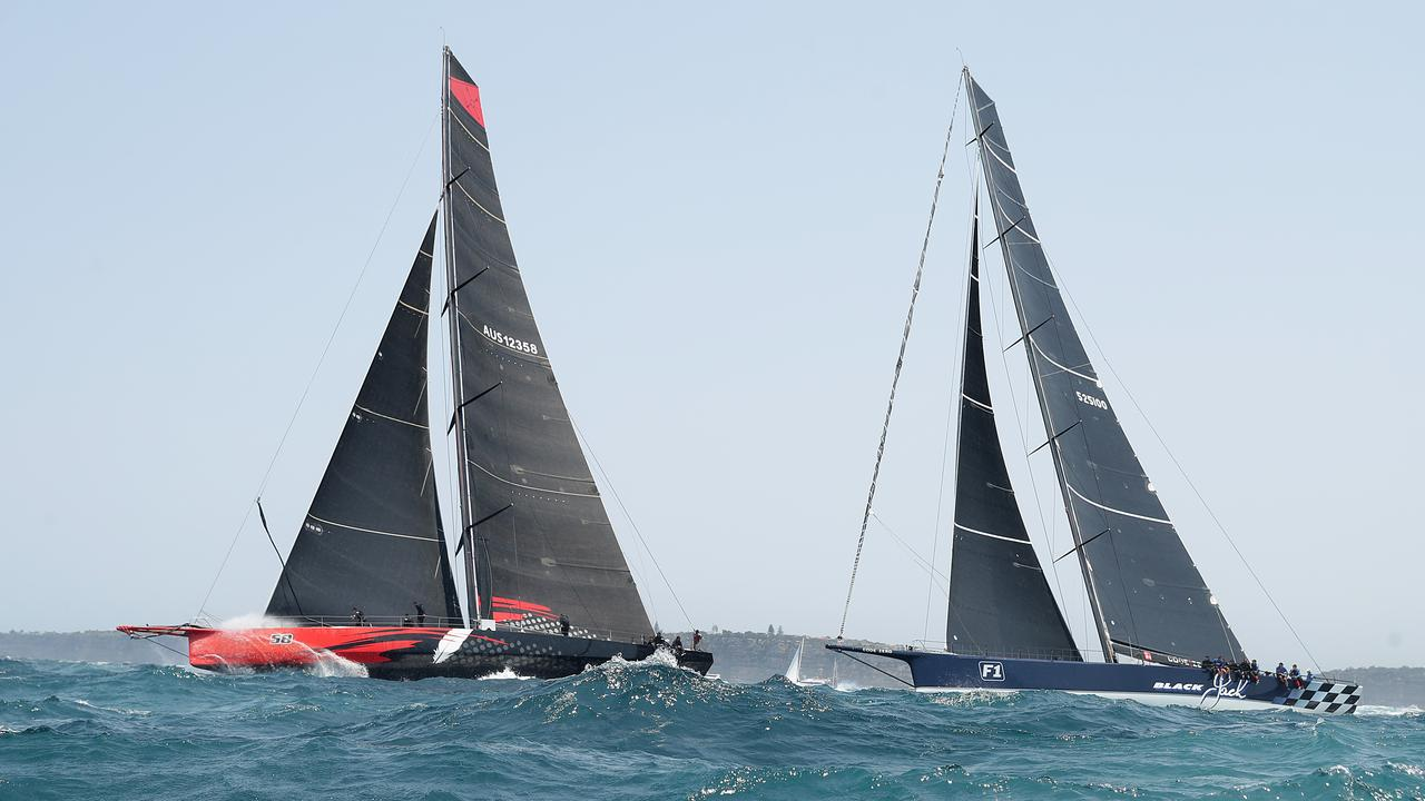 Comanche leads Black Jack racing through the early stages of the Sydney to Hobart. Picture: Getty