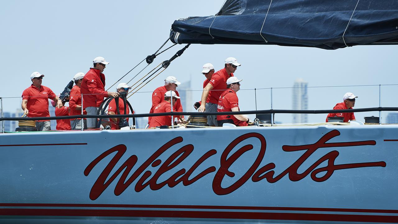 The Crew of Wild Oats XI is pictured ahead of the 2019 Sydney to Hobart start. Picture: Getty