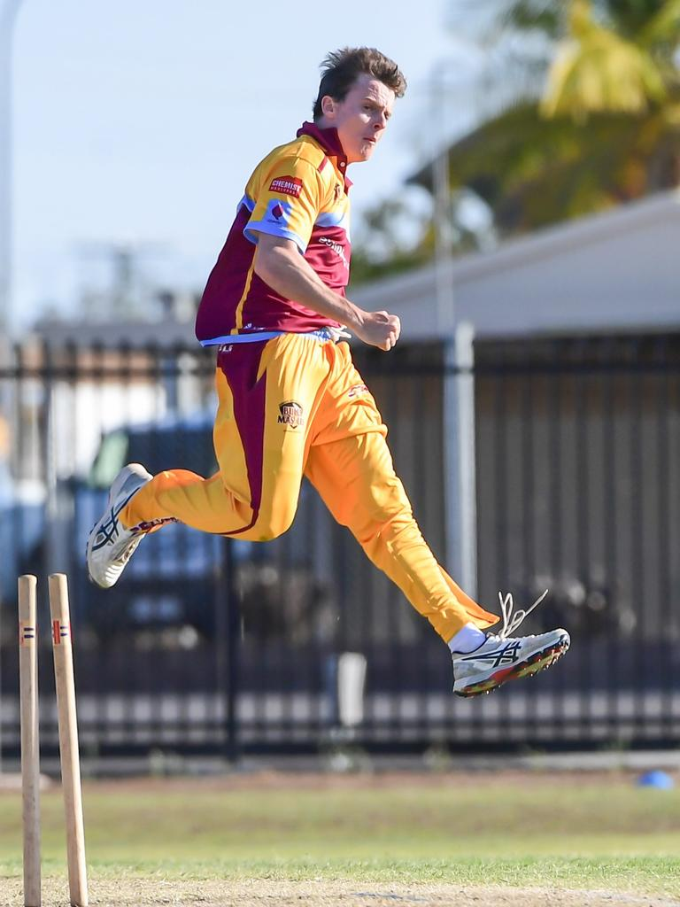 Central Queenslands Sam Lowry celebrates the bowling of Darling Downs Kris Glass.