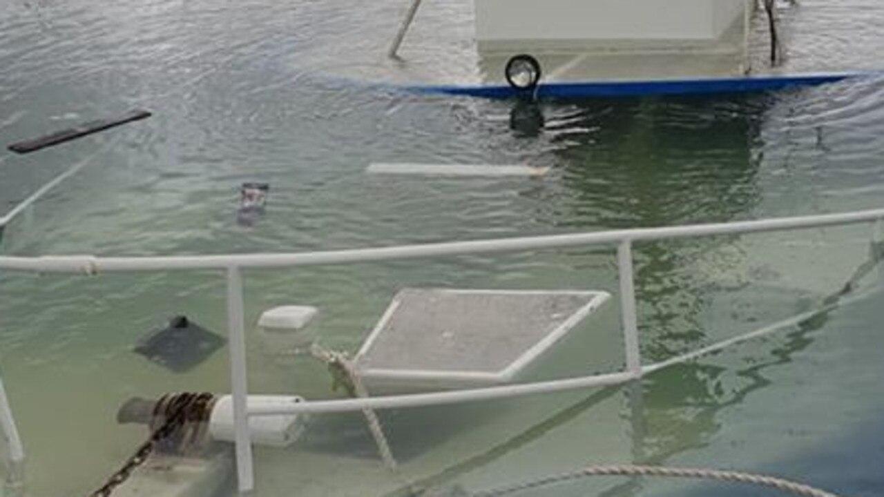 Sunken boat in Keppel Bay Marina