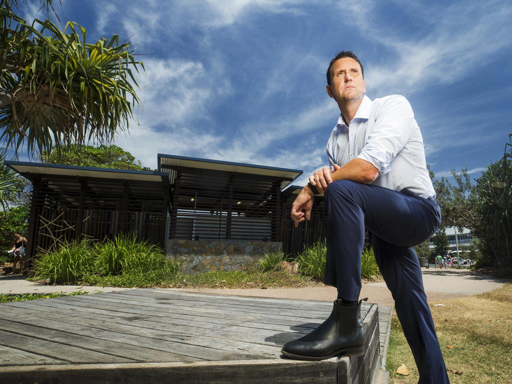Liberal MP for Ninderry and former Child Sex Offender Detective Dan Purdie in front of the public amenities block at Tickle Park in Coolum Beach where a 4 year old was sexually assaulted in early January. Photo Lachie Millard