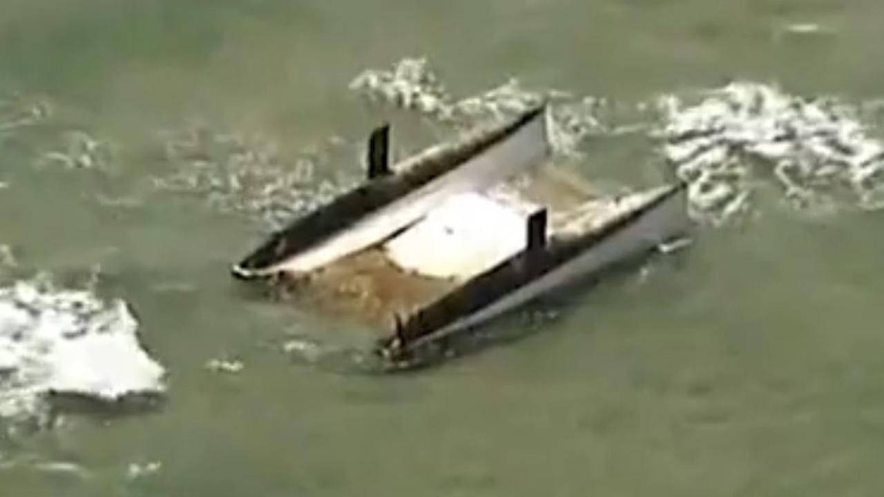 The catamaran was found floating near North Stradbroke Island. Picture: 7 News Brisbane