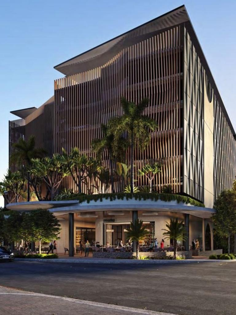 An architectural drawing shows the design of a multi-level parking station and food outlet proposed to be built on the Brisbane Road carpark site at Mooloolaba.