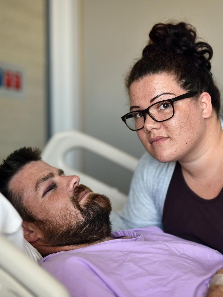 Josh Leighton was walking from Alex Surf Club to watch the fireworks at Mooloolaba on New Year's Eve when he was bashed in an unprovoked attack. Josh with his wife Stephine Leighton.