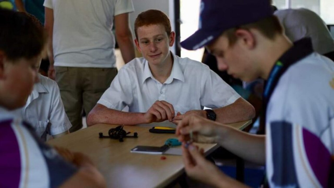 WATCH AND LEARN: George Gleeson learning how to build a racing drone at the Drone Camp.